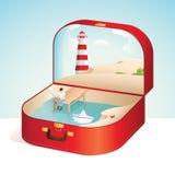 Ett manfiske på stranden royaltyfri illustrationer