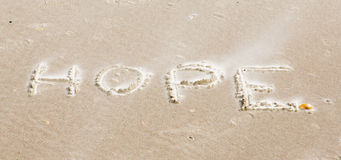 Ett meddelande på stranden Arkivbild