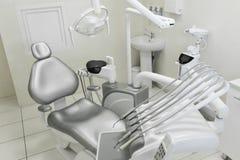 Ett modernt brunn-utrustat kontor för tandläkare` s, en tålmodig grå färgstol för ` s Maskin för att borra tänder och annan tand- royaltyfria bilder