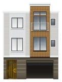 Ett modernt hus med ett garage Royaltyfri Fotografi