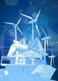 Ett modernt hus och väderkvarnar på en blå bakgrund som omges av digitala nätverk royaltyfri illustrationer