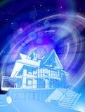Ett modernt hus på en blå bakgrund stock illustrationer