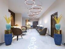 Ett modernt mottagandeområde med stora stoppade märkes- fåtöljer och en stor ljuskrona av guld- cirklar Sidotabeller med lampor royaltyfri illustrationer