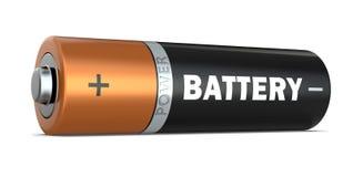 Ett motorförbundetbatteri som isoleras på vit bakgrund, 3D framför stock illustrationer