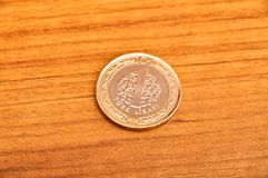 Ett mynt för turkisk lira fotografering för bildbyråer