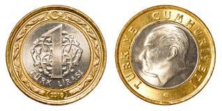 Ett mynt för turkisk lira Arkivbild