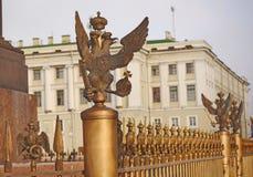Ett nationellt emblem av Ryssland förlade i FN St Petersburg för den Dvortsovaya Ploschad slottfyrkanten royaltyfria foton