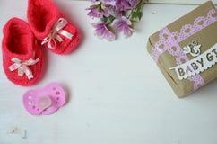 Ett nyfött behandla som ett barn flickabakgrund Nyfödd tillbehör för en behandla som ett barnflicka på en rosa träbakgrund Royaltyfri Bild