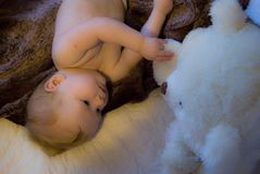 Ett nyfiket behandla som ett barn med en vit björn för leksak Royaltyfri Bild