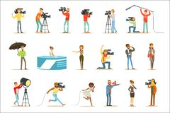 Ett nyhetsprogrambesättning av yrkesmässiga kameraman och journalister som skapar TVTV-sändning av Live Television Set Of Cartoon vektor illustrationer