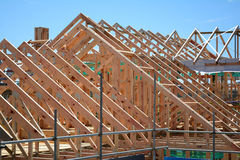 Ett nytt hem under konstruktion Arkivfoto