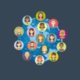Ett omfattande nätverk av förbindelse royaltyfri illustrationer