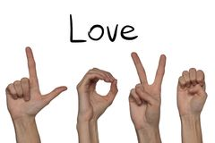 Ett ord av förälskelse som visas av händer på ett alfabet för den döva stumma nollan arkivbild