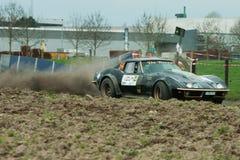 Ett ovanligt historiskt rallycar i Belgien arkivbilder