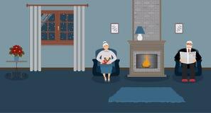 Ett par av äldre folk sitter vid spisen i en härlig hemtrevlig blå vardagsrum stock illustrationer