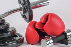 Ett par av boxninghandskar och hantlar och viktplattor arkivfoton