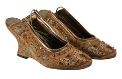 Ett par av brunt skor rikt sequined arkivfoto