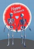 Ett par av den retro illustrationen för skelett- vän Royaltyfria Bilder