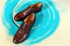 Ett par av eleganta skor för man` s Royaltyfria Bilder