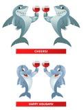 Ett par av haj s och ett par av delfin s som ger jubel för ett rostat bröd Arkivfoto