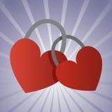 Ett par av låsta hjärtor för hänglås Plan stil royaltyfri illustrationer