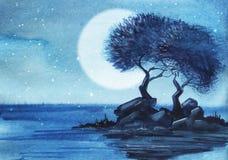 Ett par av lövfällande träd på en mycket liten stenig ö Stjärnklart månbelyst stock illustrationer