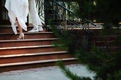 Ett par av nygifta personer som upp går trappan royaltyfri bild