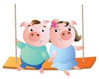 Ett par av svin på en gunga royaltyfri illustrationer