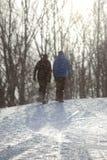 Ett par går upp en snöig bana royaltyfria foton