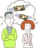Ett par har kostnadsbekymmer royaltyfri illustrationer