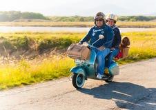 Ett par med en hund rider en Vespa Arkivbild