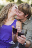 Ett par som tycker om ett exponeringsglas av Wine i parken Royaltyfri Foto