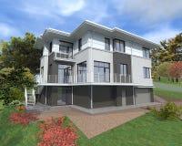 Ett privat hus 3-D diagram Arkivfoto