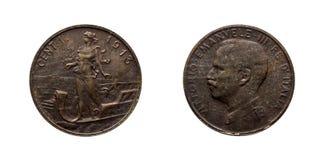 Ett 1 Prora Vittorio Emanuele III centLireför kopparmynt kungarike 1913 av Italien Royaltyfria Bilder