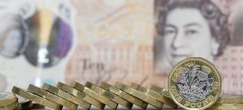 Ett pundmynt - brittisk valuta Royaltyfri Bild