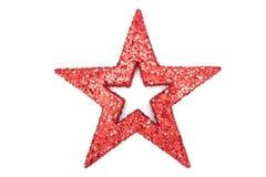 Ett rött blänker stjärnan Arkivbilder