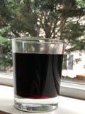Ett r?tt vinexponeringsglas ?ver f?nstret med gr?n bakgrund royaltyfria bilder