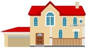 Ett realistiskt trevligt stort hus stock illustrationer
