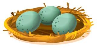 Ett rede med tre ägg Royaltyfria Foton