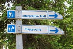Ett riktningstecken för en interpretive slinga och lekplats Royaltyfria Bilder