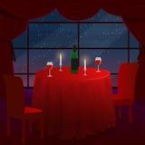 Ett romantiskt datum i ett kafé En romantisk matställe för två En tabell med en röd torkduk Stjärnorna utanför fönstret vektor stock illustrationer