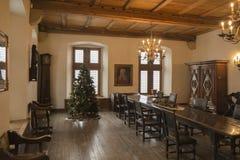 Ett rum i den Vianden slotten, Schweiz arkivfoton