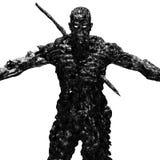 Ett ruskigt levande dödmonster står med utsträckta armar Arkivbild
