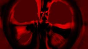 Ett ruskigt rött monster står med utsträckta armar illustration 3d Fotografering för Bildbyråer