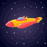 Ett rymdskepp i form av en orange raket och en hyttventil Royaltyfria Foton
