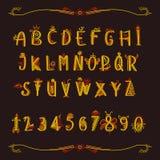 Ett sagolikt alfabet med nummer Royaltyfria Foton