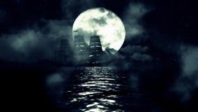 Ett seglingskepp på en fullmånenatt flyttar långsamt mellan vågorna och dimman stock illustrationer