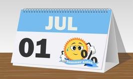 Ett september, sommarf?rs?ljningar, bl? och vit klocka och kalender royaltyfri illustrationer
