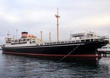 Ett skepp i porten av Yokohama Arkivfoton
