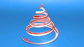 Ett skinande festligt band bildar ett julgransymbol som roterar 3d framför av ljus saftig sammansättning för jul arkivfilmer